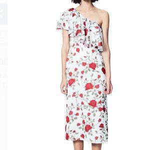 Rosabel Floral Ruffle One Shoulder Midi Dress